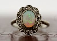 Antique Opal Ring - 1930s Vintage Opal & Diamond Ring