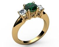 14K Gold Emerald 3 stone Ring, Unique Engagement Ring, Heart Filigree, Promise Ring, Love Ring for Your Love One $930.00