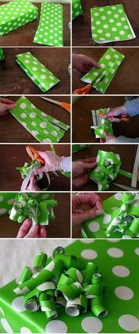 Turn those wrapping paper scraps into bows. Love me some bows. - Click image to find more DIY & Crafts Pinterest pins