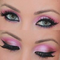 Trying to visualize pink eye make-up on me, and I think I would look like I had an eye fungus... Whatever=) This is pretty.