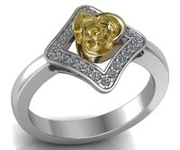2 Tone Gold Square Flower Pave Diamond Ring, Unique Engagement Ring $739.00