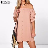 Women Sexy Off Shoulder Mini Dress Casual Loose Half Sleeve Strapless Dress $17.38