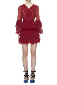 Self Portrait Trimmed Fine Lace Dress In Burgundy