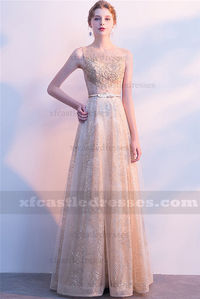 2018 Gold Lace Sequin Long Prom Dresses FFN62