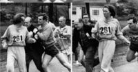 In 1967, Kathrine Switzerwas the first woman to enter and complete the Boston Marathon as a numbered entry. She registered under the gender-neutral name of �€œK.V. Switzer�€. After realizing that a woman was running, race organizer Jock S...