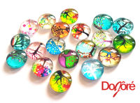 CLEARANCE Pack of 50 Round Assorted Colours Tree Flatback Cabochons. Glass Dome Rhinestones. 12mm x 4mm £8.19