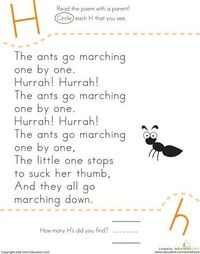 How many H's do the marching ants have in their