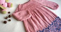 Baby knit dress hand knitted girls dress pink baby by KsyuKnitting