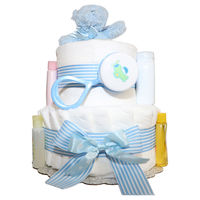 An attractive way to gift diapers, the perfect little something to take to the hospital or the home, and clever little centerpieces for your guest tables at a baby shower.   2 Tiers  Baby Powder  Baby Shampoo  Baby Wash  Baby  Lotion  Rattle  Min...