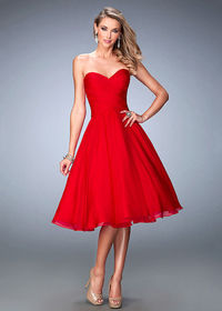 Strapless Sweetheart Criss Cross Ruched Red Tea Length Dress For Party