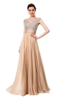 Long Nude Beaded High Neck CD-1112 Prom Dresses 2015