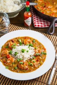 A cajun and creole dish of shrimp in a tasty roux gravy.