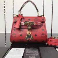 MCM Mini Ketty Rabbit Visetos Satchel In Red