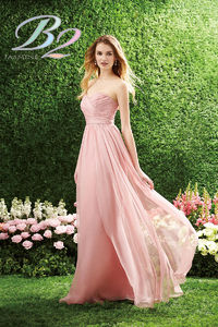 Long Strapless Sweetheart Pleated Layered A-line Gathered Bridesmaid Dress