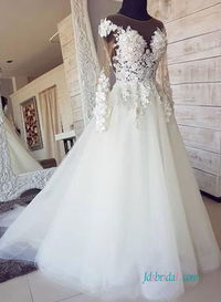 H0574 Sexy long sleeved illusion lace tulle wedding dress 