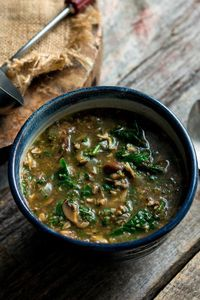 """This is a very hearty, chunky soup filled with bits of browned mushroom and silky baby spinach A combination of sweet and savory spices �€"""" cinnamon, coriander an"""