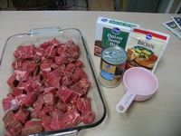 Serve it over mashed potatoes. Crock Pot Beef Tips: 2 lb. stew meat, 1 can cream of mushroom, 1 packet brown gravy mix, 1 packet lipton dry onion soup mix, 1small can mushrooms, 1 cup water. Mix all ingredients and pour over the meat, set to low for the d...