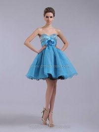 A-line Sweetheart Organza Satin Short/Mini Flower(s) Cocktail Dresses