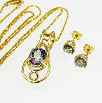 14K Yellow Gold & Mystic Topaz Pendant Necklace and Pierced Earrings 14K Presentation Chain Modern Vintage 1980s 1990s Gift For Her $675.00