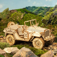 3D Wooden Puzzles, Movable Army Jeep Wooden Model,Retro Style Assembly Toy $51.30