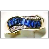 18K Yellow Gold Diamond Eternity For Men Blue Sapphire Ring [RQ0033]