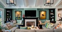Wall color, ceiling detail, black accent