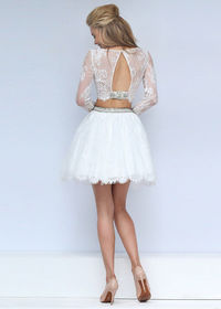 2016 Short Beaded Lace Crop Top Two Piece Long Sleeves Ivory Prom Dress