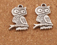 Pack of 10 Silver Coloured Metal Owl On Branch Charms. Nature Theme Wisdom Pendants. 22mm x 14mm £7.79