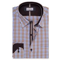 Create a stylish look with this Oxford Men Brown And Multi Check shirt. Woven in Egyptian cotton & polyster. this check shirt has a fine finish.