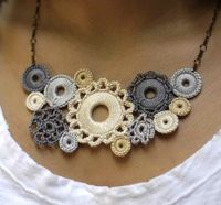 Crocheted Lace Whimsical Bib Necklace Shades by acupofgreenginger, $75.00