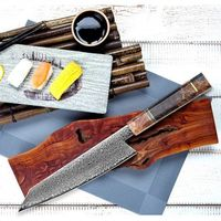 Handmade Chef Knife Damascus Clad Steel Butcher Tools Kitchen Knife $163.00