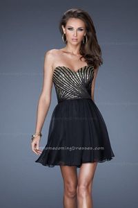 Black Strapless Sequin Bodice Chiffon Short Homecoming Dresses