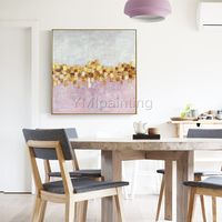 Gold leaf abstract flowers Acrylic Paintings On Canvas original art Large wall art pink Wall pictures framed wall art cuadros abstractos $104.75