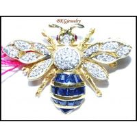 Genuine Blue Sapphire Diamond Bee Brooch/Pin 14K Yellow Gold [I 026]