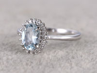 6X8MM OVAL CUT AQUAMARINE AND DIAMOND ENGAGEMENT RING 14K WHITE GOLD HALO FLORAL