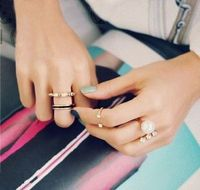 3pcs/Set Rings Fashion Gold Crystal Cute Knuckle Ring Midi Stack Jewelry Party