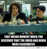 That awkward moment when you discover that Joker and Robin were classmates.