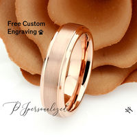 Rose Gold Tungsten Wedding Band Men, Custom Engraving 6mm Matte Tungsten Ring Men, Tungsten Carbide Mens Promise Ring, Couple Gift $73.00