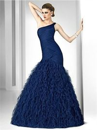 Gorgeous one-shoulder blue tulle 2012 ball gown Prom Dresses