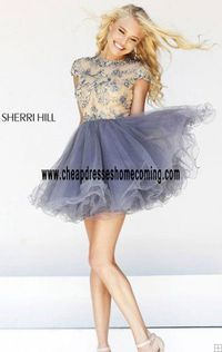 Unique Sherri Hill 21304 A-Line Nude/Gunmetal Cap-Sleeves Tulle Cheap Short Style Homecoming