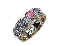 Gold ring Milgrain Ring Art Nouveau unique Ring Engraved Ring Flower Band Leaves $1537.00