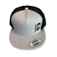 THIGHBRUSH® - Trucker Snapback Hat - Silver and Black - Black Logo - Flat Bill
