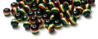 Pack of 80 Black Round Mini Rasta Colours Stripe Beads. 10mm Ghana Jamaica Reggae Spacers. £6.99