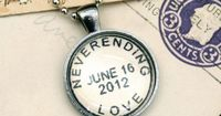 Neverending Love - with your custom date; vintage style postmark necklace: anniversary, first date, engagement, birthday, etc. .... by CrowBiz on Etsy