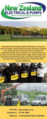 We are experts in Water, Heat Pump Installation, maintenance & repair in New Zealand - 24 hour breakdown service available. Call for any query 0800-487-387. see: https://nzepl.co.nz/pumps/