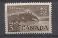 Canada #442 (SG#567) 5c Brown Parliament Buildings 1965 Ottawa Centenary Issue DF Paper VF 84 NH $0.99