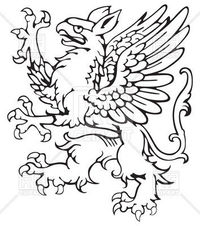 Prancing griffin - heraldic element vector image