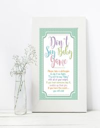 Don't Say Baby Free printable baby shower games