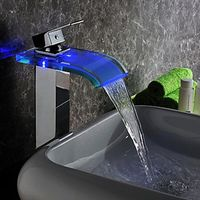 Contemporary Chrome Finish LED Waterfall Hydroelectric Power Glass Bathroom Sink Faucet (Tall)