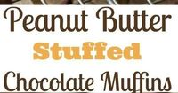 Rich chocolate muffins studded with semisweet chocolate chips and filled with a peanut butter filling for decadent peanut butter filled chocolate muffins